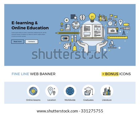 Flat line design of web banner template with outline icons of online education, internet study course, video lessons, distance learning. Modern vector illustration concept for website or infographics. - stock vector