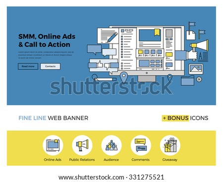 Flat line design of web banner template with outline icons of social media marketing solution, online advertising for brand promotion. Modern vector illustration concept for website or infographics. - stock vector