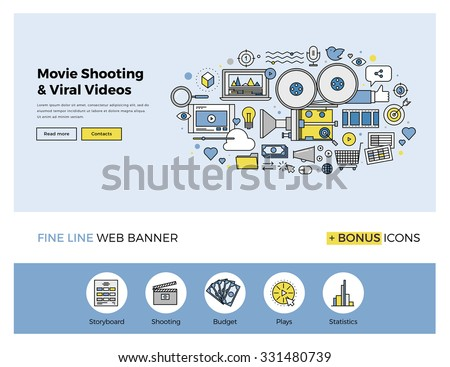 Flat line design of web banner template with outline icons of viral video marketing, movie shooting, professional TV studio production. Modern vector illustration concept for website or infographics. - stock vector