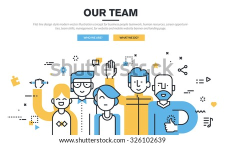 Flat line design style modern vector illustration concept for business people teamwork, human resources, career opportunities, team skills, management, for website banner and landing page. - stock vector