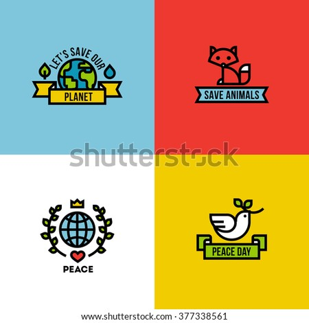 Flat line design style vector illustration of green planet, peace day and save the animals - stock vector