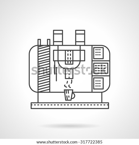 Flat line design vector icon for coffee maker. Coffee maker for making coffee drinks in coffee shops. Elements of web design for business and website.