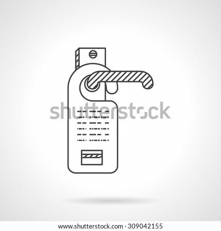Flat line design vector icon for tag hanging on door knob. Hotel industry. Do not disturb sign or online room reservation. Design elements for business and website - stock vector