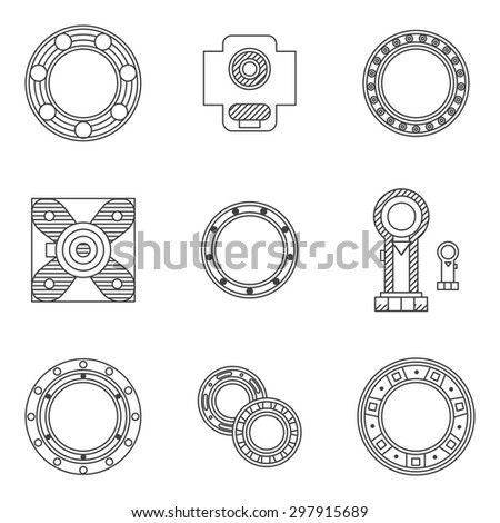 Flat line design vector icons for set of different types bearings. Ball, radial, roller and other types bearings for mechanism components - stock vector