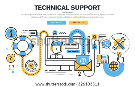 Flat line design vector illustration concept for technical support, call centre, online service, feedback, customer assistance, 24h help, communication, for website banner and landing page. - stock vector