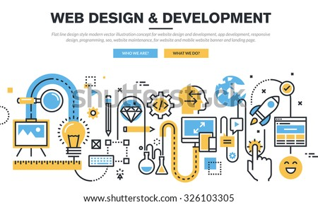 Flat line design vector illustration concept for website design and development, app development, responsive design, programming, seo, website maintenance, for website banner and landing page. - stock vector