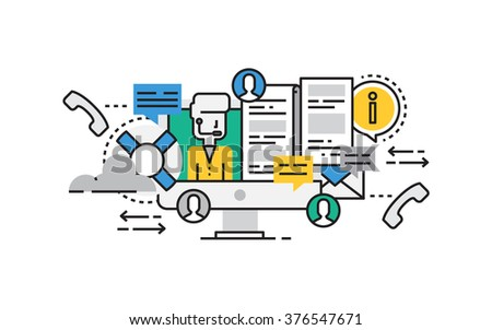 Flat line design vector illustration concept of Technical Support, Online Service, Call Center, Help Process. Design for Website Element , Web Banner and promotional materials. Editable Stroke. - stock vector