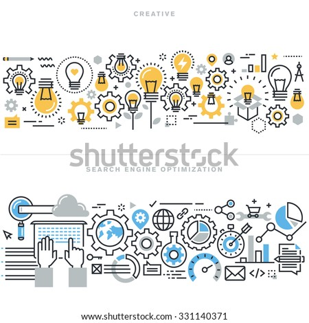 Flat line design vector illustration concepts for creative process workflow, marketing and design agency, website and app design and development, search engine optimization, for website banner. - stock vector