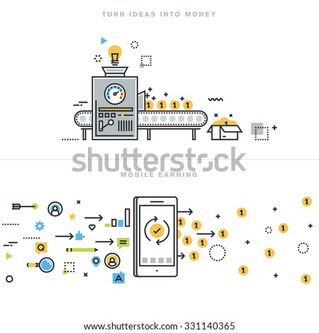 Flat line design vector illustration concepts for earning money online, mobile earning, business ideas, turning ideas into money, business consulting, mobile commerce, for website banner. - stock vector