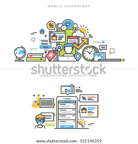 Flat line design vector illustration concepts for mobile technology, smartphone application, mobile website and app design and development, mobile phone services, for website banner and landing page. - stock vector