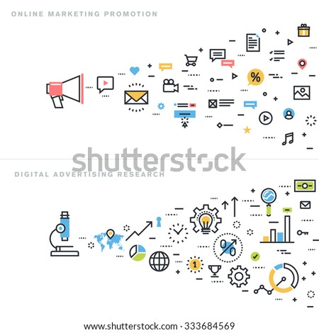 Flat line design vector illustration concepts for online marketing promotion, digital advertising research, market research, internet marketing, e-commerce, for website banner and landing page. - stock vector
