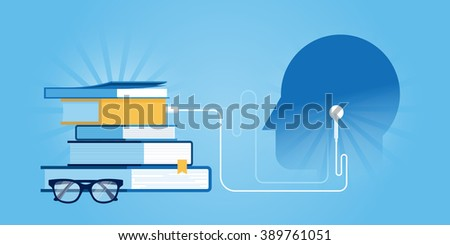 Flat line design website banner of audio training and courses, distance education. Modern vector illustration for web design, marketing and print material. - stock vector