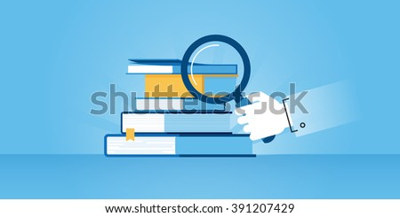 Flat line design website banner of book store, search for a book. Modern vector illustration for web design, marketing and print material. - stock vector