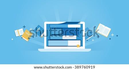 Flat line design website banner of e-learning, e-book, online education. Modern vector illustration for web design, marketing and print material. - stock vector