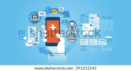 Flat line design website banner of healthcare mobile app. Modern vector illustration for web design, marketing and print material. - stock vector
