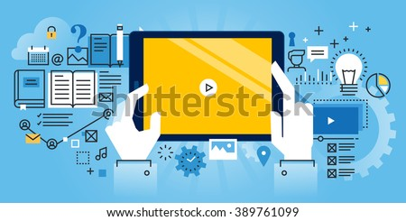 Flat line design website banner of online education, video tutorials, online training and courses. Modern vector illustration for web design, marketing and print material. - stock vector