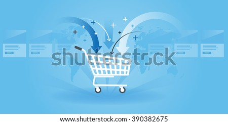 Flat line design website banner of shopping, product order, add to cart. Modern vector illustration for web design, marketing and print material. - stock vector