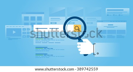 Flat line design website banner of web search, SEO, ranking sites, rating. Modern vector illustration for web design, marketing and print material. - stock vector
