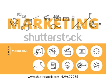 Flat line design word MARKETING with icons and elements. Marketing concept. Can be used for book cover, report header, presentation,infographics, printing, website banner. Vector Illustration. - stock vector