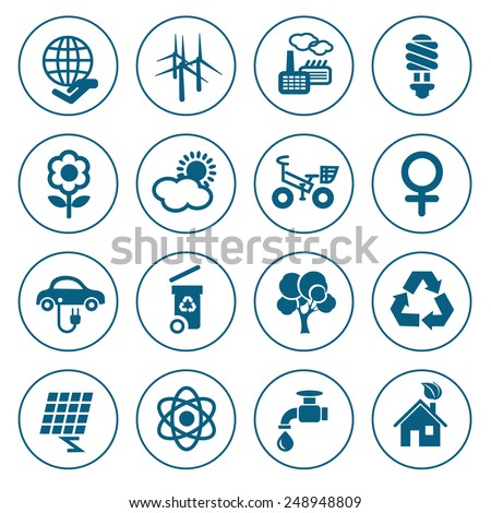 Flat line ecology icons set. Modern design style, vector illustration, isolated on the white background - stock vector