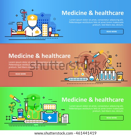 Flat line horizontal vector design concept three color green, brown, blue banner templates set of medicine and healthcare, clinic, hospital, ambulance service for presentation, linear, header, cover
