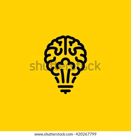 Flat line icon of light bulb looks like brain. Creative logo template - stock vector