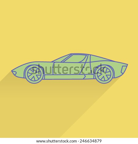 Flat line icon of sport car - stock vector