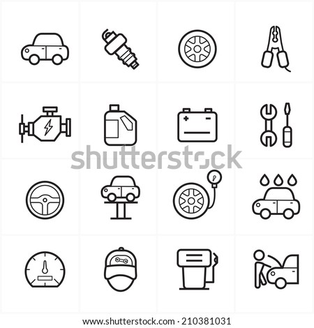 Flat Line Icons For Car Service Icons Vector Illustration - stock vector