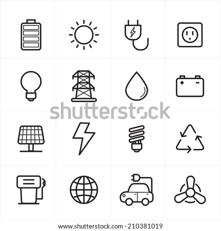 Flat Line Icons For Environment Icons and Ecology Icons Vector Illustration - stock vector