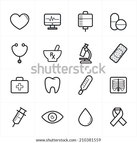 Flat Line Icons For Medical Icons and Health Icons Vector Illustration - stock vector