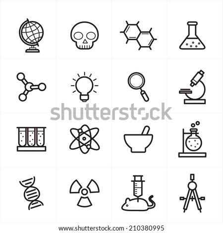 Flat Line Icons For Science Icons Vector Illustration - stock vector