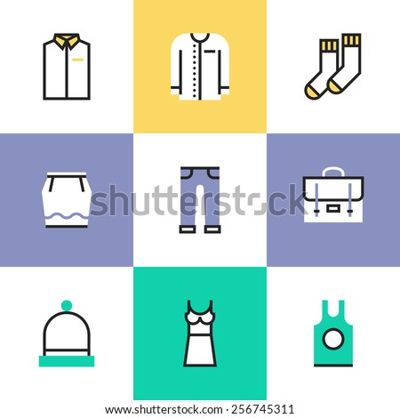 Flat line icons of casual everyday clothing items for men and woman, formal dresses for office work, elegant evening dresses. Infographic icons set, logo abstract design pictogram vector concept. - stock vector