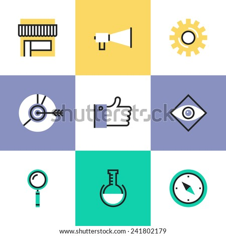 Flat line icons of digital marketing development elements, social media strategy, market solution, website seo optimization. Infographic icons set, logo abstract design pictogram vector concept. - stock vector