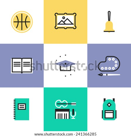 Flat line icons of education objects and elementary school items, art and music symbol, student equipment. Infographic icons set, logo abstract design pictogram vector concept. - stock vector