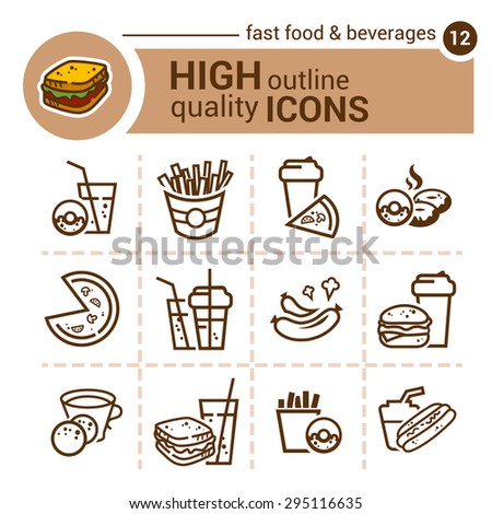 Flat line icons of fast food and beverages - stock vector