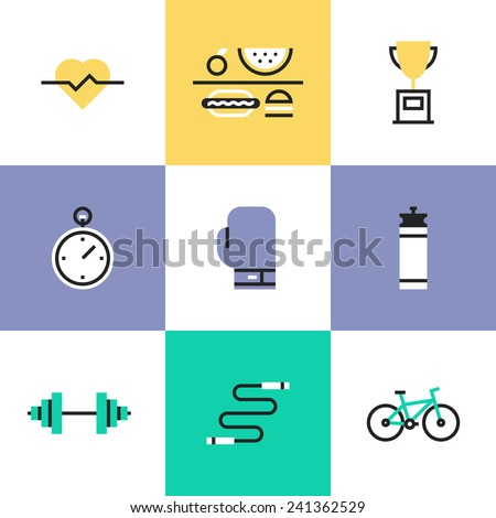 Flat line icons of fitness, sport and healthy lifestyle: physical activity, award winning, dietary regime, well-being, human body. Infographic icons set, logo abstract design pictogram vector concept. - stock vector