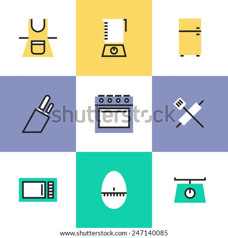Flat line icons of modern kitchen utensils and kitchenware electronics equipment for any cooking or food preparation task. Infographic icons set, logo abstract design pictogram vector concept. - stock vector