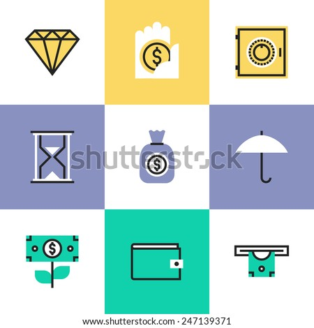 Flat line icons of money savings and protection, diamond jewelry, business capital growth, bank account and banking deposit. Infographic icons set, logo abstract design pictogram vector concept. - stock vector
