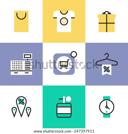 Flat line icons of online shopping deals and discount for products, retail store elements and market goods objects. Infographic icons set, logo abstract design pictogram vector concept. - stock vector