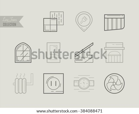 Flat Line Icons of Repair and Construction, from working tools and Measurement Instruments to Materials, Windows, Doors, Tile, Ventilation, Water Supply and Electricity Construction Industry Icons. - stock vector