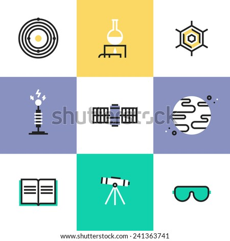 Flat line icons of science experiment, space mission discovery, chemistry research analysis, solar system and astronomy education. Infographic icons set, logo abstract design pictogram vector concept. - stock vector
