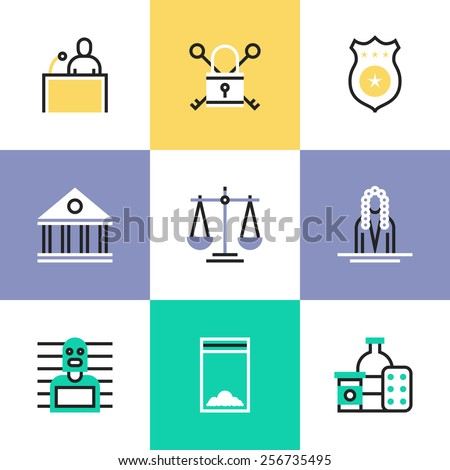 Flat line icons of suspected drug dealer, courtroom scene criminal process, scales of justice, jail locker, courthouse building. Infographic icons set, logo abstract design pictogram vector concept. - stock vector