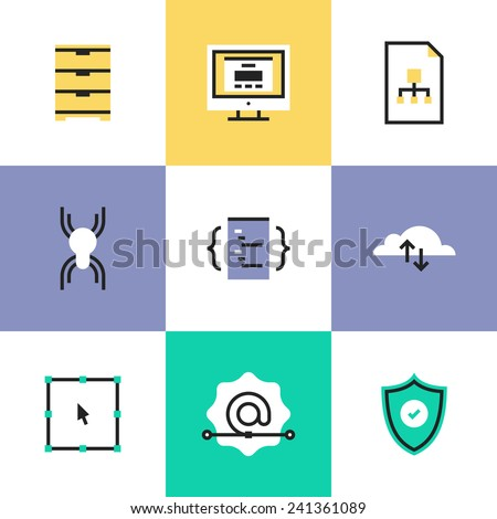 Flat line icons of website development services, cloud computing connection, network security, user interface coding & programming. Infographic icon set, logo abstract design pictogram vector concept. - stock vector