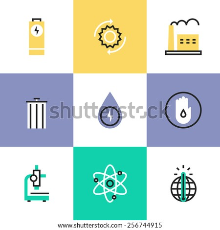 Flat line icons of world energy conservation, global warming, recycle bin, clear water consumption, power plant production. Infographic icons set, logo abstract design pictogram vector concept. - stock vector