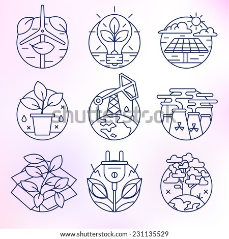 Flat line icons set. Contamination of the environment, ecology, solar, clean energy, petroleum, planet earth, environment. - stock vector