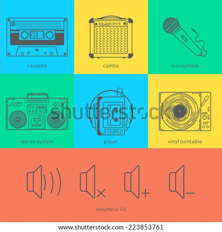 Flat line icons set of audio technic 90's like magnet cassette, combo, microphone, stereo system, player, vinyl turntable and volume user interface. Modern design style vector illustration concept. - stock vector