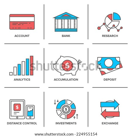 flat line icons set banking account stock vector royalty free