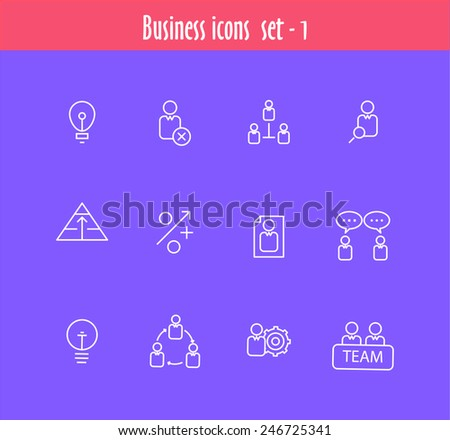 Flat line icons set of business meeting, professional occupation, company consulting, people communication and deal agreement. Modern trend design style vector concept. Isolated on white background. - stock vector