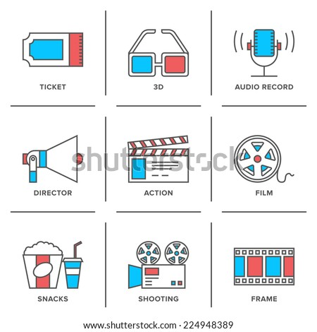 Flat line icons set of cinema shooting, movie watching, film production, leisure entertainment, 3d television and audio record. Modern trend design style vector concept. Isolated on white background. - stock vector