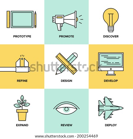 Flat line icons set of creative design process, web product development, studio service, prototype engineering, marketing promotion and success idea. Thin line modern style vector illustration concept - stock vector